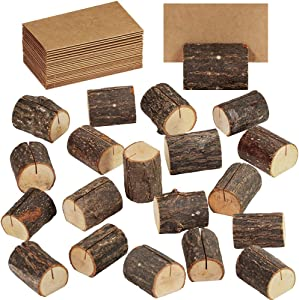 Supla 20 Pcs Rustic Wood Place Card Holders Wooden Table Numbers Holder Stand Wooden Bark Memo Holder Card Photo Picture Note Clip Holders and Kraft Place Cards Bulk Wedding Party Table Number Sign