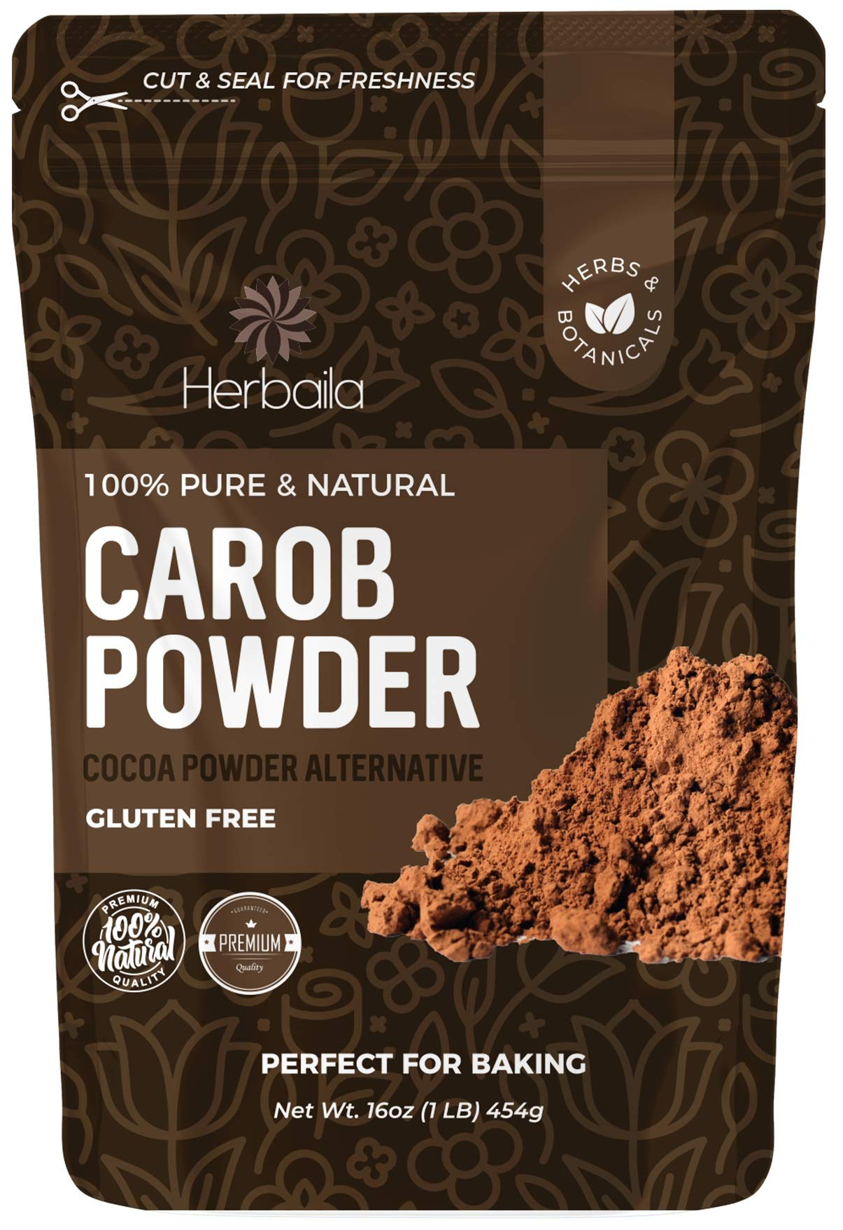 Carob powder, 1 lb. Raw Carob Powder, Carob Flour, Chocolate Substitute Carob, Unsweetened Carob Powder, Carob Chocolate Cocoa Powder Alternative. All Natural, Vegan, Paleo, Non-GMO.