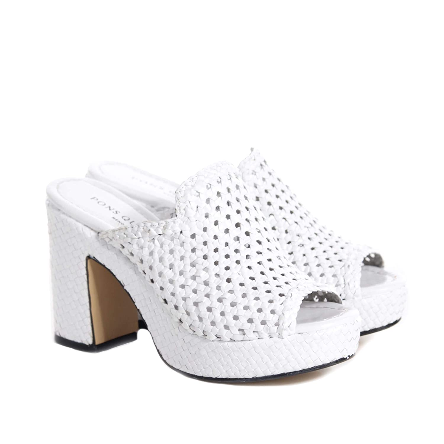 - PONS QUINTANA Women's 7745000 White Leather Wedges