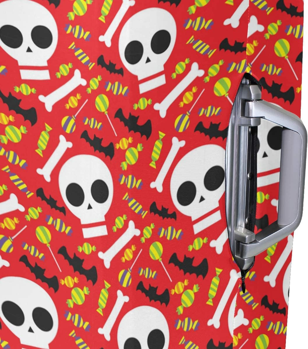 FOLPPLY Halloween Skull Pattern Luggage Cover Baggage Suitcase Travel Protector Fit for 18-32 Inch