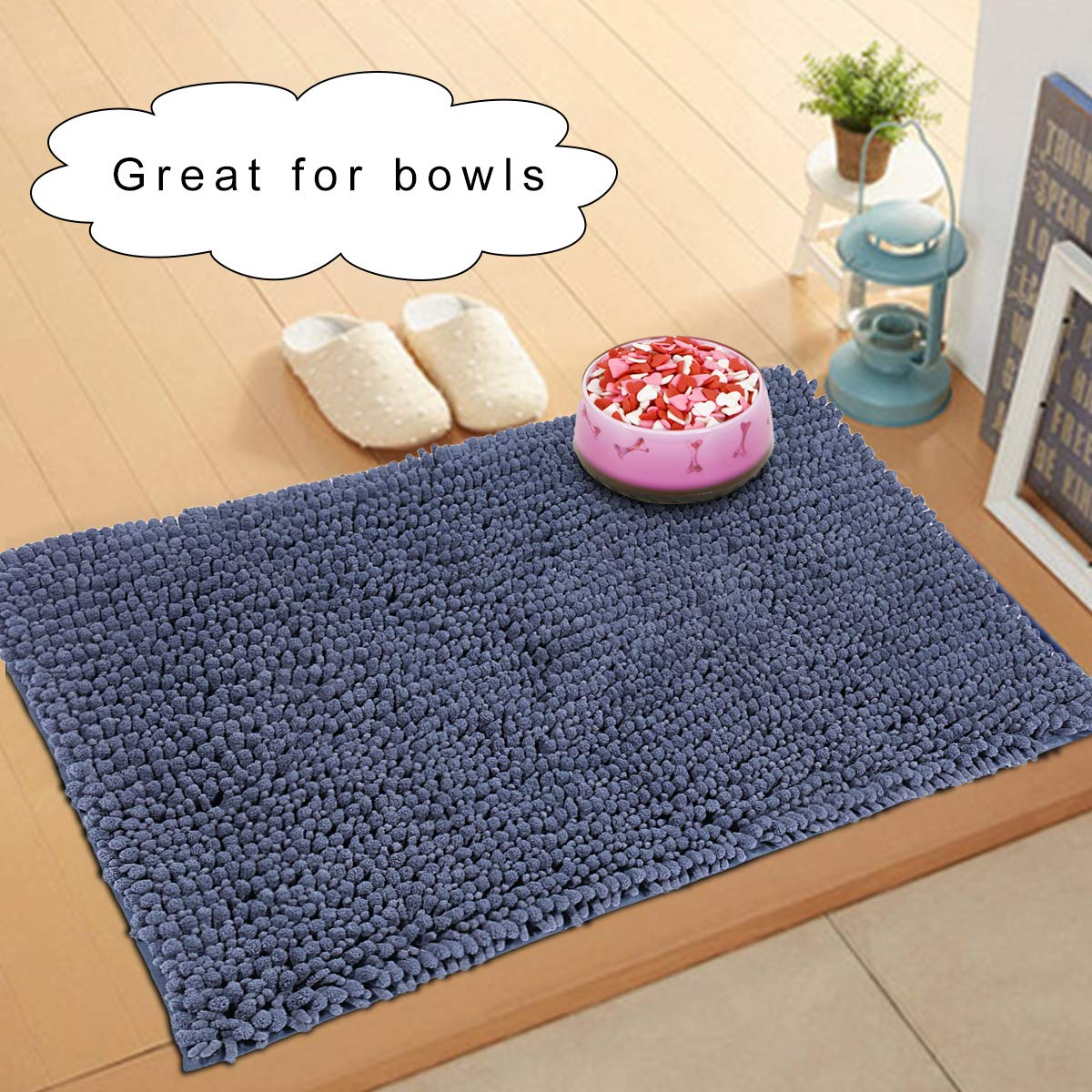 My Pet Territory for Dog and Cat-Ultra Absorbent Microfiber Chenille Dog Mat, Durable, Quick Drying, Washable, Prevent Mud Dirt, Clean Pooch Mat, Keep Your House Blue 31 x 20 Inches Hevice cw01