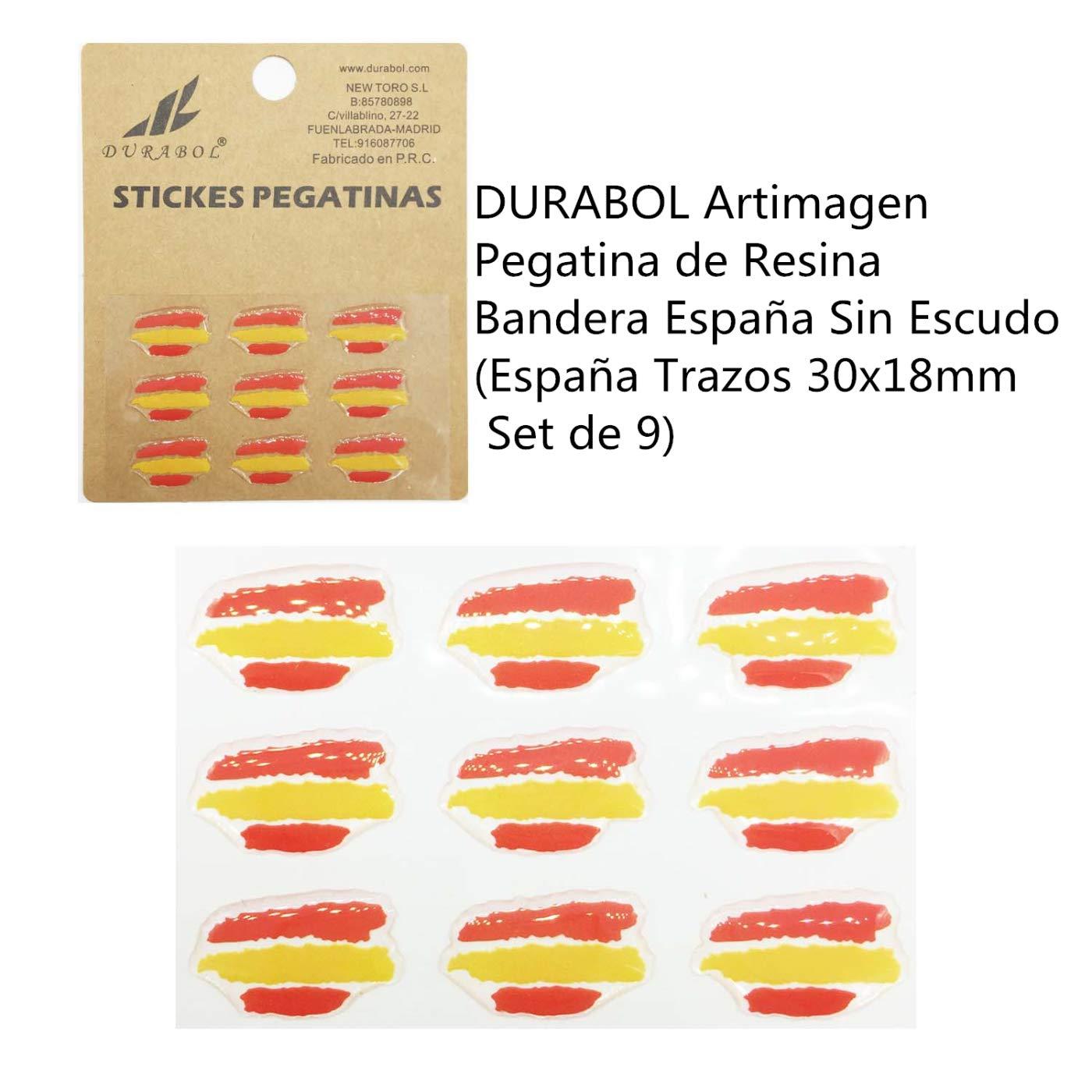 Espa/ña Trazos 30x18mm Set de 9 DURABOL Artimagen Pegatina de Resina Bandera Espa/ña Sin Escudo