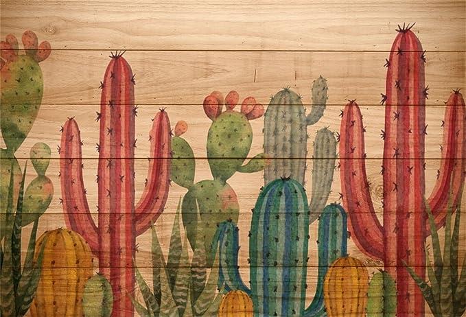 10x6.5ft Childish Art Design Green Cactus Rustic Wooden Board Yellow Polyester Photography Background Desolate Desert Fiesta Backdrop Child Baby Portrait Shoot Kids Room Wallpaper Birthday Banner