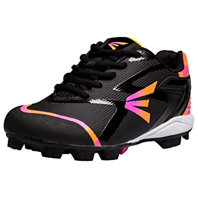 7ef043a8f Easton Girl s Prowess Missy Rubber Softball Cleats - Black Pink Orange Camo  (10K