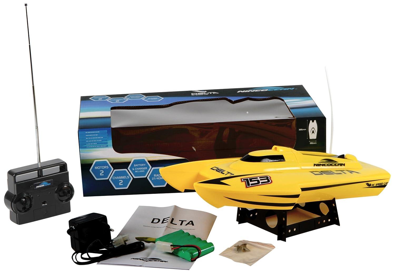 NINCOCEAN - Delta Yellow RC Speed Cat, lancha catamarán Deportiva, Color Amarillo flúor (Ninco NH99007)