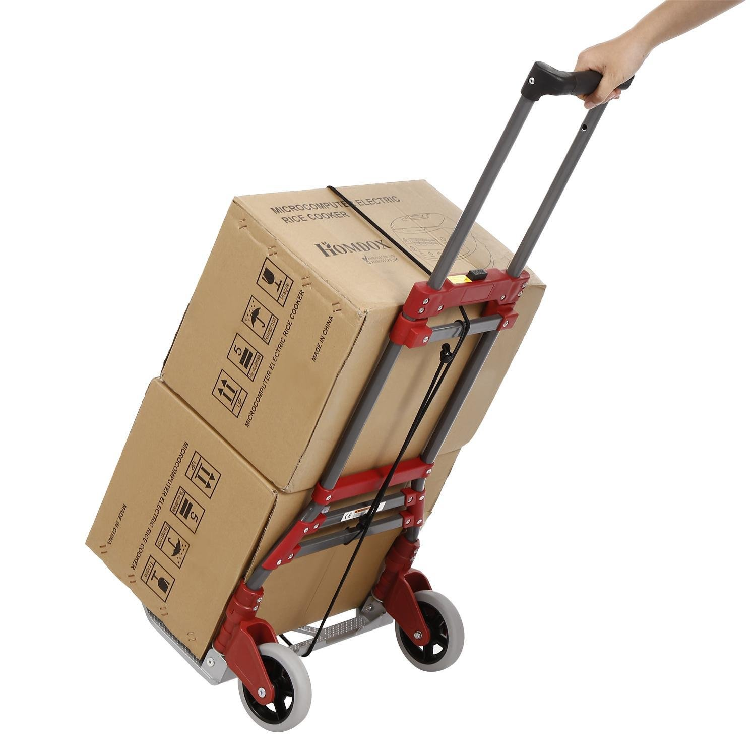 165 lb Capacity Aluminum Folding Telescoping Dolly Hand Truck, Portable Multi-Position Heavy Duty Luggage Carts with Bungee Cord-Red