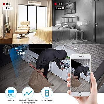 Spy Hidden Camera, WiFi Mini Camera 1080P HD Portable Home Hidden Surveillance Camera Night Vision and Motion Detection for iPhoneAndroidPCipad