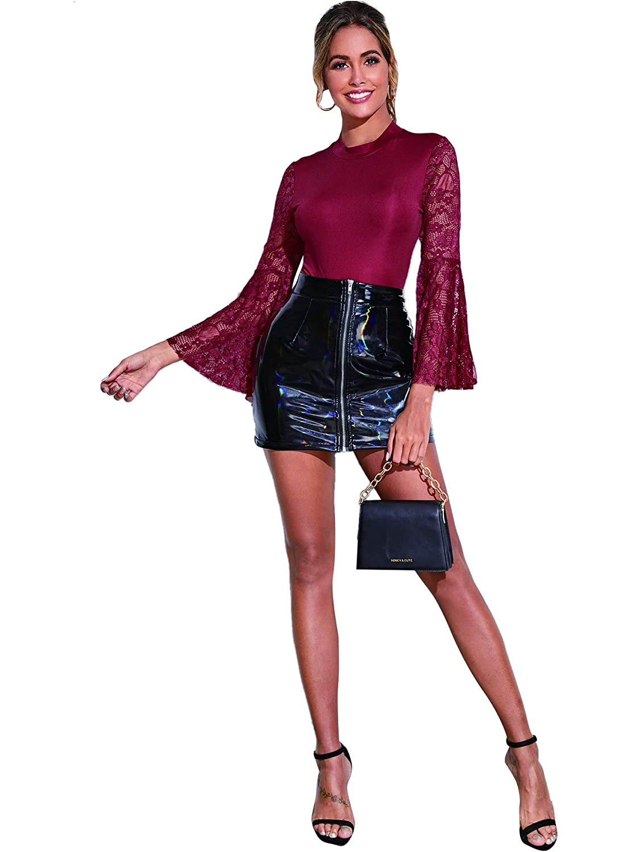 WDIRARA Womens Fashion Contrast Mesh Long Sleeve Round Neck Skinny Bodysuit