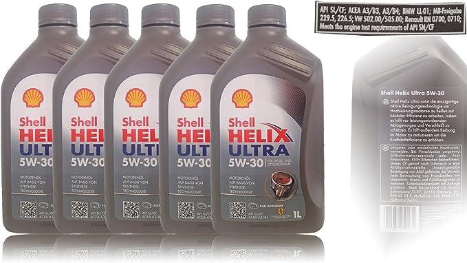 Shell Helix Ultra 5w 30 5x1 Liter Auto