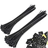 Honyear 200 Pack Strong Large 8/12 Inch Cable ties, Black Zip Ties, Durable,Self-Locking, Heavy Duty, Outdoor UV Resistant Nylon Black tie wraps