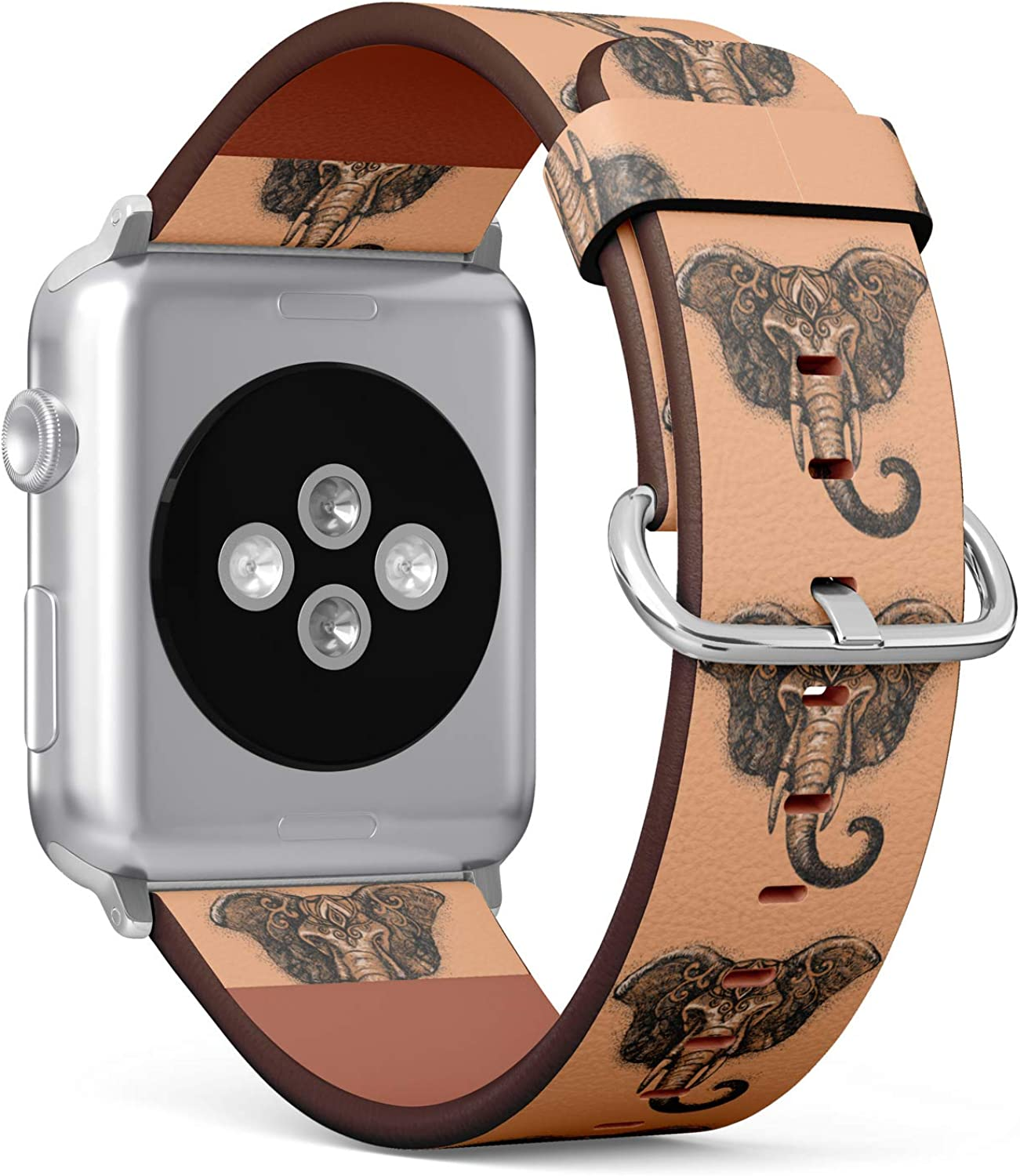(Indian Elephant) Patterned Leather Wristband Strap for Apple Watch Series 4/3/2/1 gen,Replacement for iWatch 38mm / 40mm Bands
