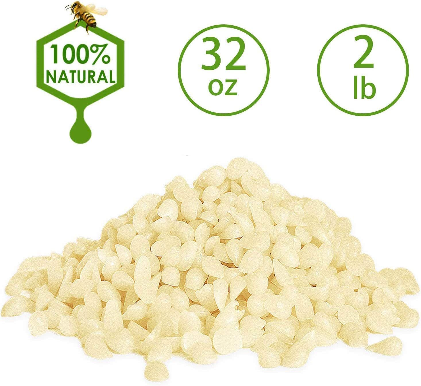 Howemon White Beeswax Pellets 32 oz 100% Pure and Natural Triple Filtered for Skin, Face, Body and Hair Care DIY Creams, Lotions, Lip Balm and Soap Making Supplies.