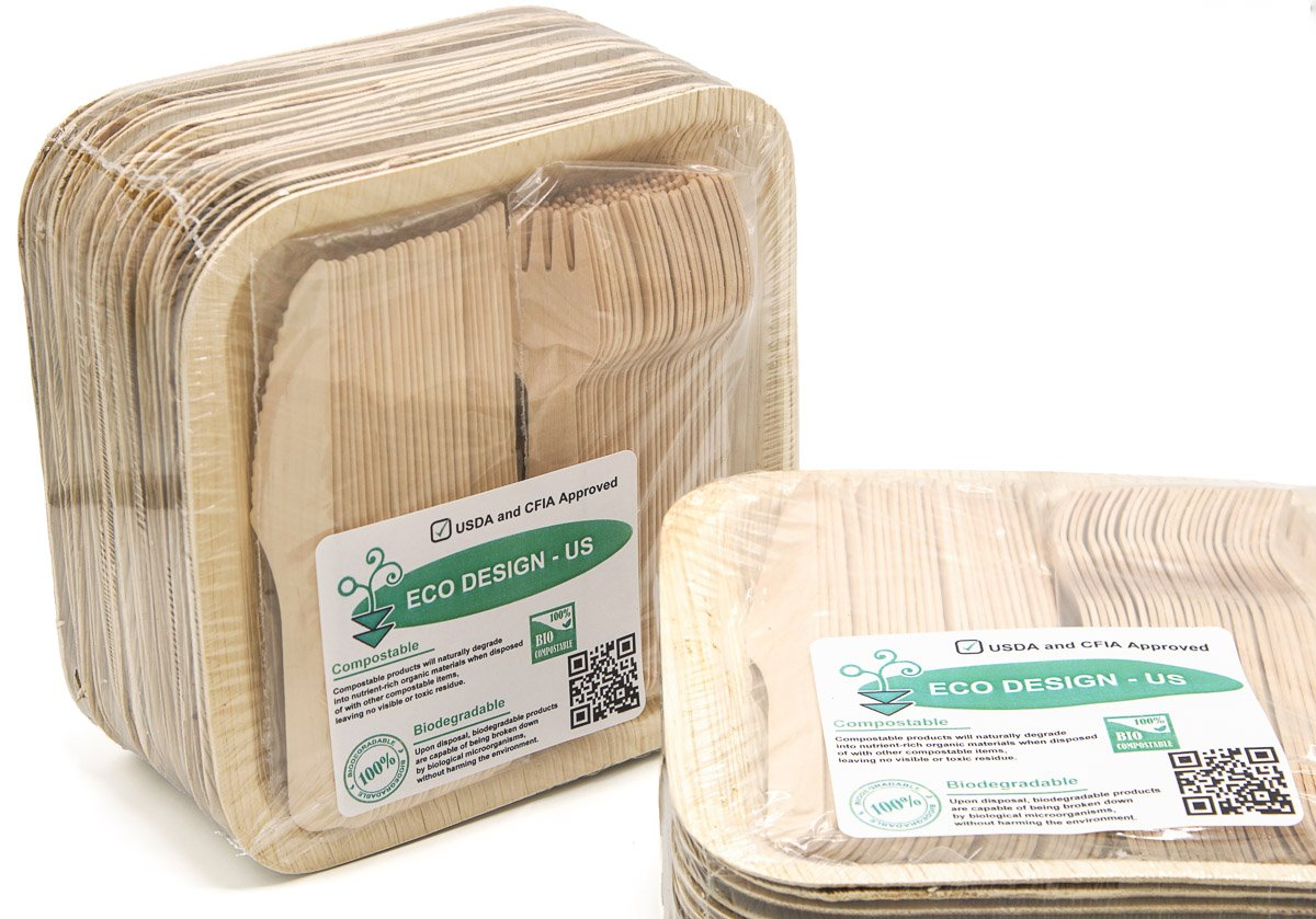 Party Pack of 150 Eco-Friendly Dinnerware - 50 Disposable 8'' Square Palm Leaf Plates, 50 Wood Forks, 50 Wood Knives by Ecodesign Disposables (Image #5)