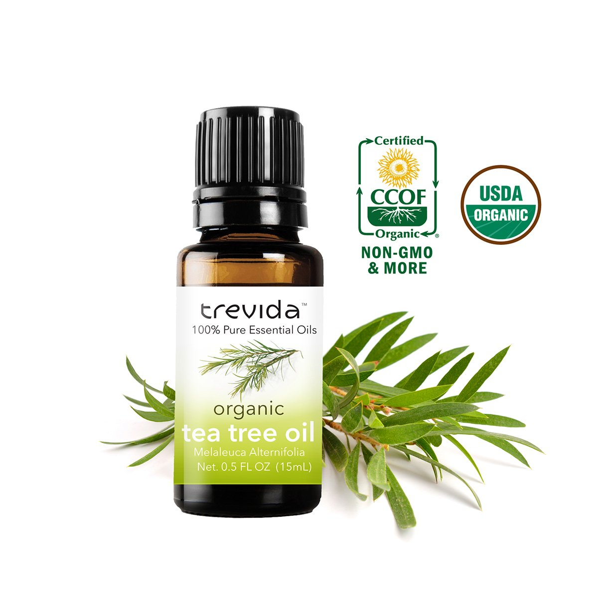 Trevida USDA Certified Organic Tea Tree Essential Oil | Melaleuca Alternifolia | 15 ml | Bottled in USA | 100 % Pure Undiluted | For Acne, Skin Tags, Warts, Toenail Fungus, Insect Repellent & More
