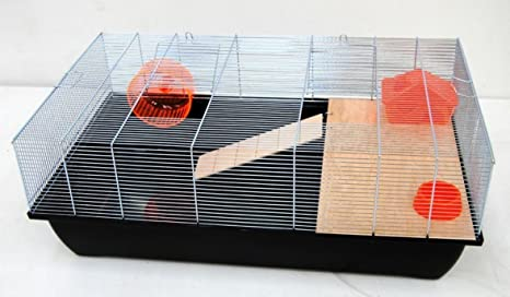 Jaula para roedores ratones jaula hámsters 78 x 47 x 30 cm negro ...