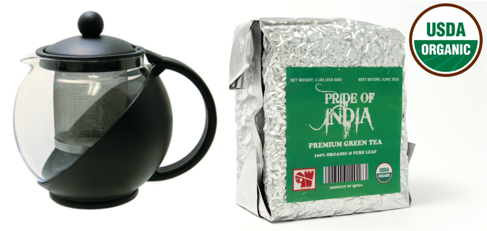 Pride Of India - Organic Indian Green Tea - Half Pound Full Leaf & Tempered 3-Cup Glass Tea Pot w/Removable Infuser - 25 Fluid Ounces Combo Pack LIMITED TIME SALE PRICE: $24.99