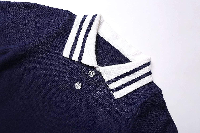 ZHUANNIAN Girls School Dresses Polo Long Sleeve Sweater Knit Jumper Dress Costume