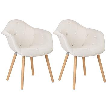Toll WOLTU® BH55cm 2 Esszimmerstühle 2er Set Esszimmerstuhl Mit Lehne Design  Stuhl Küchenstuhl Leinen Holz
