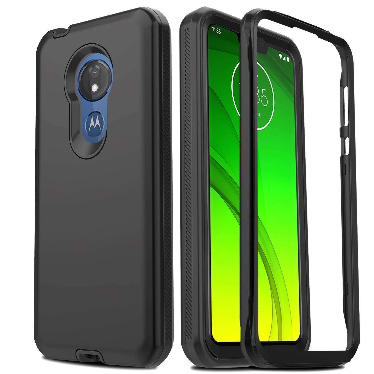 AMENQ Case for Moto G7 Power, Moto G7 Optimo Max XT1955 Case, Moto G7 Supra Case, Full Body Heavy Duty with TPU Bumper and Rugged PC Armor Protective ...