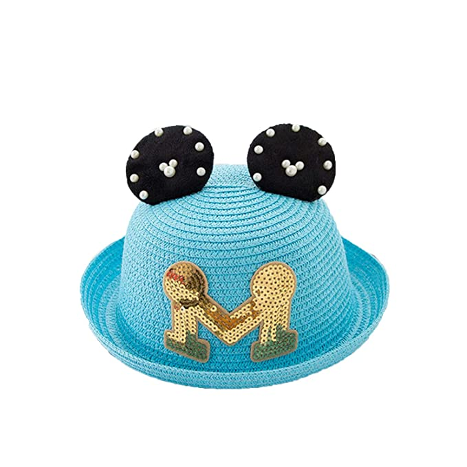 c730102f70874 Summer Baby Straw Hat Baby Girls Beach Cap Child M Letter Ears Sun Hat  Summer Cap