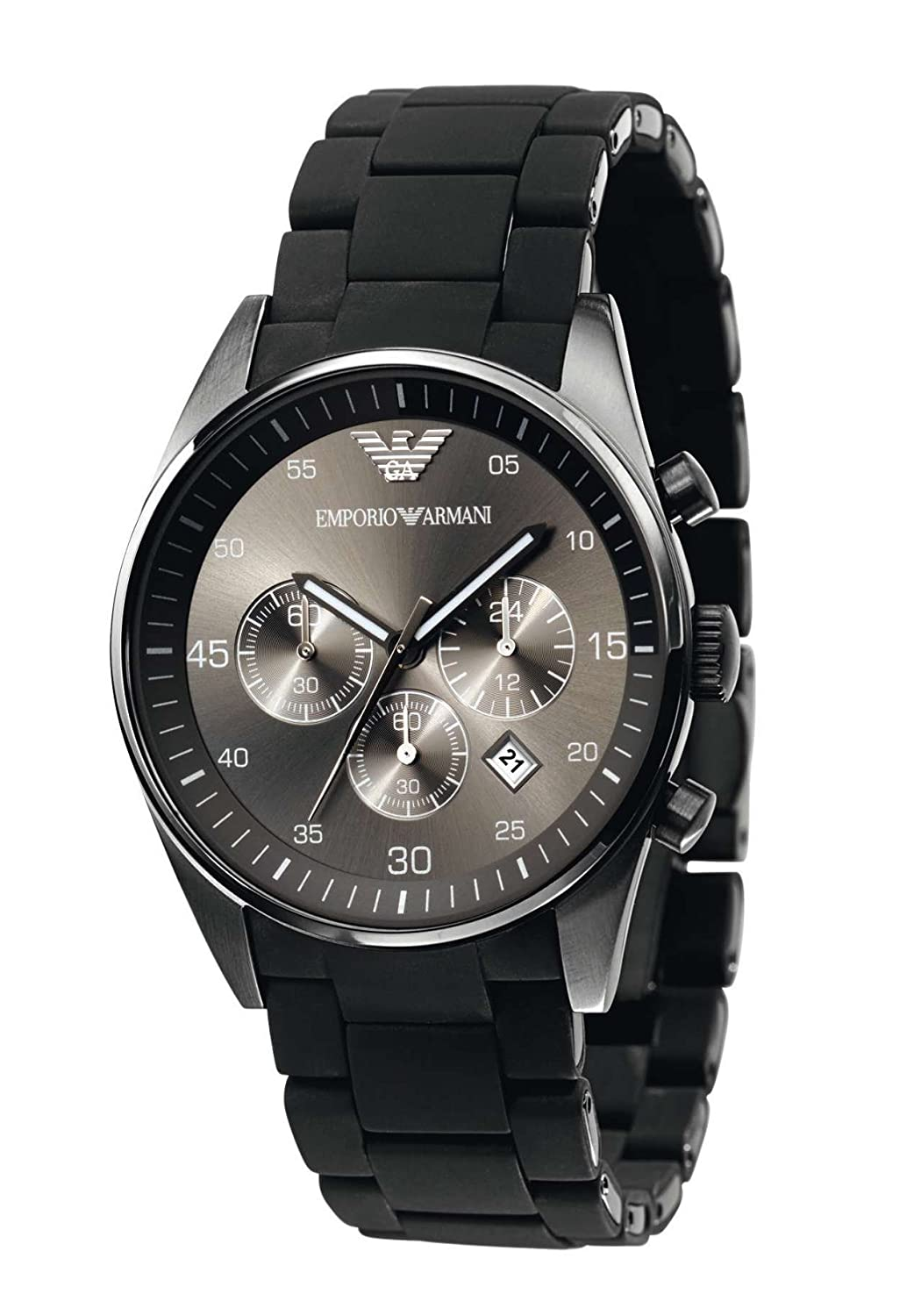 buying new exquisite design sports shoes Men's Emporio Armani AR5889 Black Silicon Stainless Steel Quartz Watch