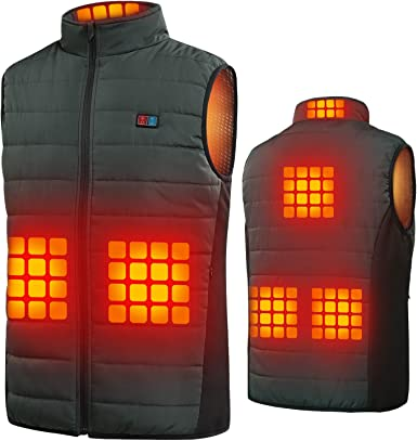 Built-in 6 Heating Therapy Pad Motorcycle reakoo Heated Vest,Men Electric Heated Vest,3-Gear Temperature Control Outdoor for Skiing Heated Clothes USB Charging Gilet Camping