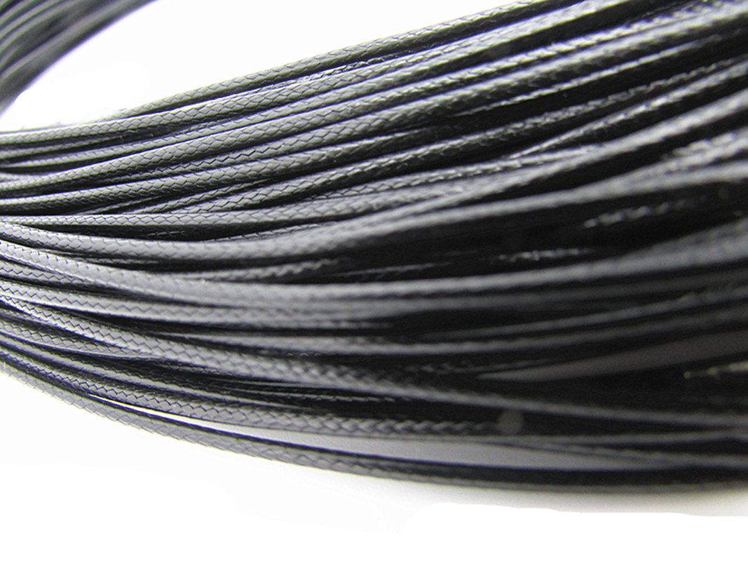 Black Necklace Cord 50Pcs Braided Leather Rope Chain With Lobster Claw Clasp 2.0mm 18