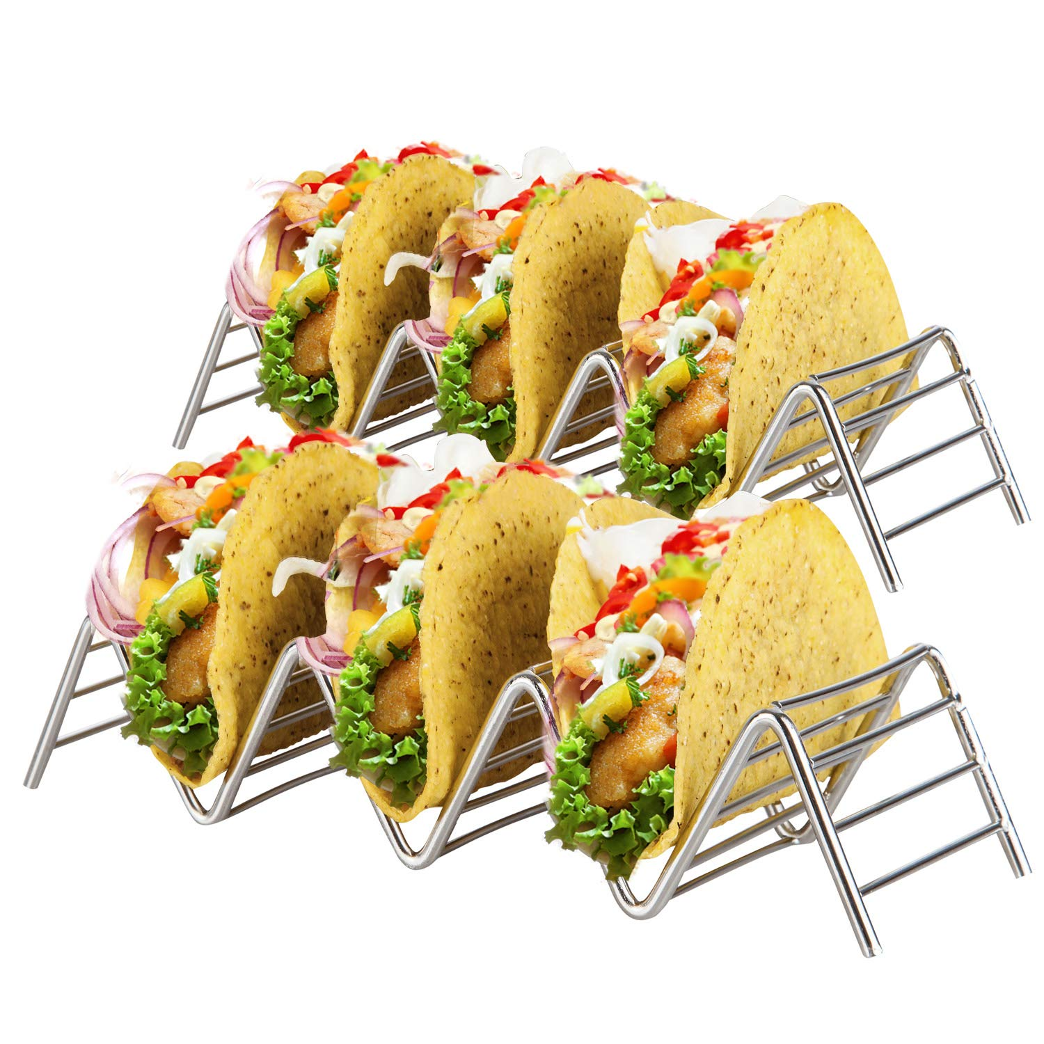 Stainless Steel Taco Holder Stand: 2 Wire Metal Tray Holders For Serving Up Soft & Hard Shell Food Truck Style Tacos - Wider, Fun Grill, Oven & Dishwasher Safe Taco Trays Great for Kids or Parties
