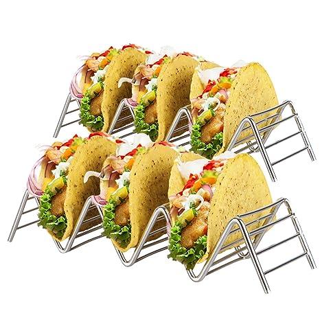 Soporte Para Tacos Mexicanos: 2 Bandejas Metálicas de Alambre Para Servir Tacos de Concha Blanda y Dura - Portatacos Aptos para Grill, Horno y ...