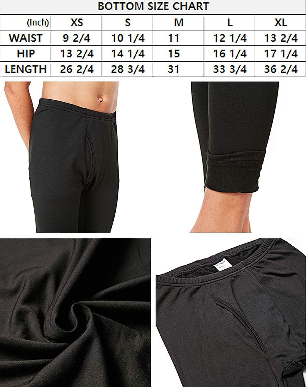 DEVOPS Boys 2 Pack Thermal Heat-Chain Compression Baselayer Long Johns Pants X-Large, Black//Blue
