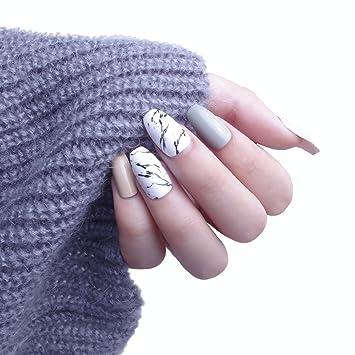 24pcs 12 diferentes tamaño elegante Simple sólido Candy Macaron azul largo cuadrado completo para uñas postizas con diseño: Amazon.es: Belleza