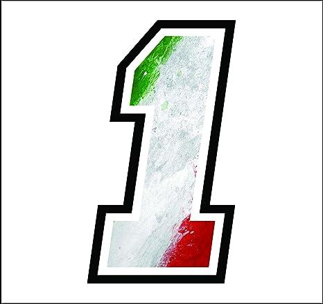 BANDIERA ITALIANA gara cross pista auto moto Adesivo NUMERO 4 GARA 12 cm