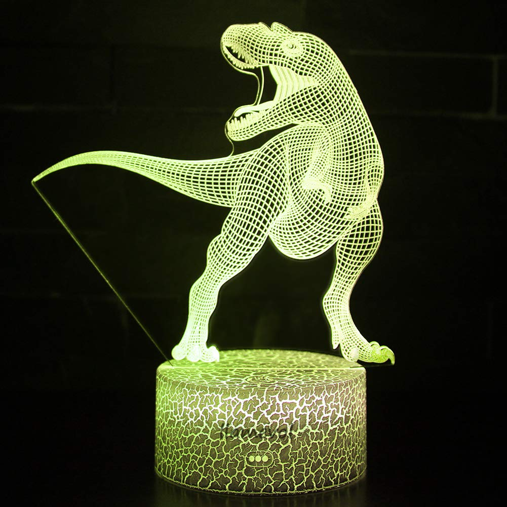 Night Light 3D lamp 7 Colors Changing Nightlight with Smart Touch Control 3D Night Light for Kids Room Decor or Perfect Gift for Kids Bedroom Theme Decor (Dinosaur Tyrannosaurus) by LLAMEVOL (Image #4)
