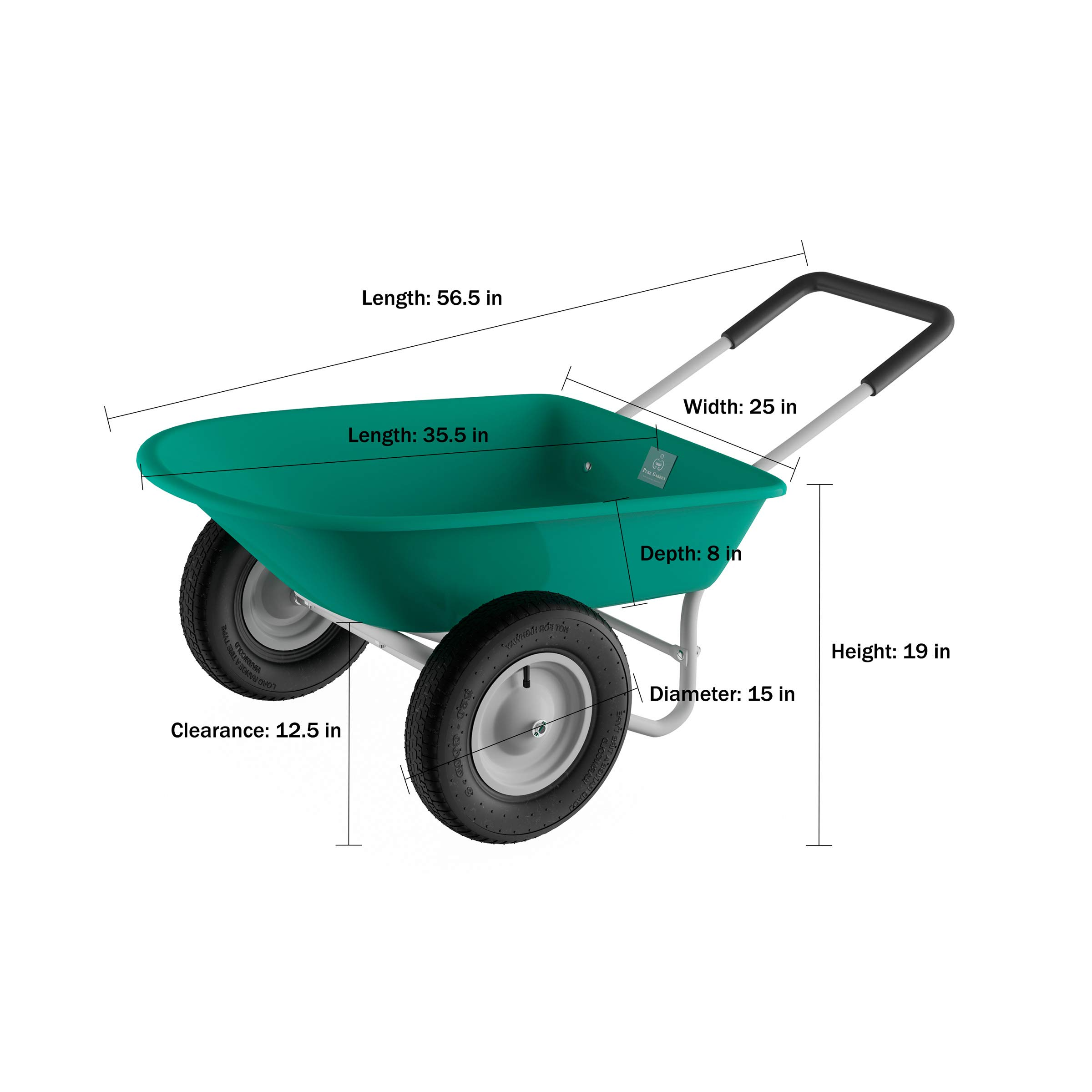 Pure Garden (PURNC) 50-LG1079 Pure 2-Wheeled Garden Wheelbarrow – Large Capacity Rolling Utility Dump Cart for Residential DIY Landscaping, Lawn Care and Remodeling by Pure Garden (PURNC) (Image #2)