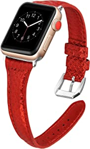 NO1seller Top Band Compatible for Apple Watch Series 5 4 40mm 44mm/Series 3 2 1 38mm 42mm Women Men, Slim Genuine Leather Band with Steel Clasp Replacement Accessories iWatch Wristband Strap Bracelet