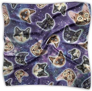 Uridy Pañuelo de raso cuadrado Gatos de galaxia Cabezas de gato en ...