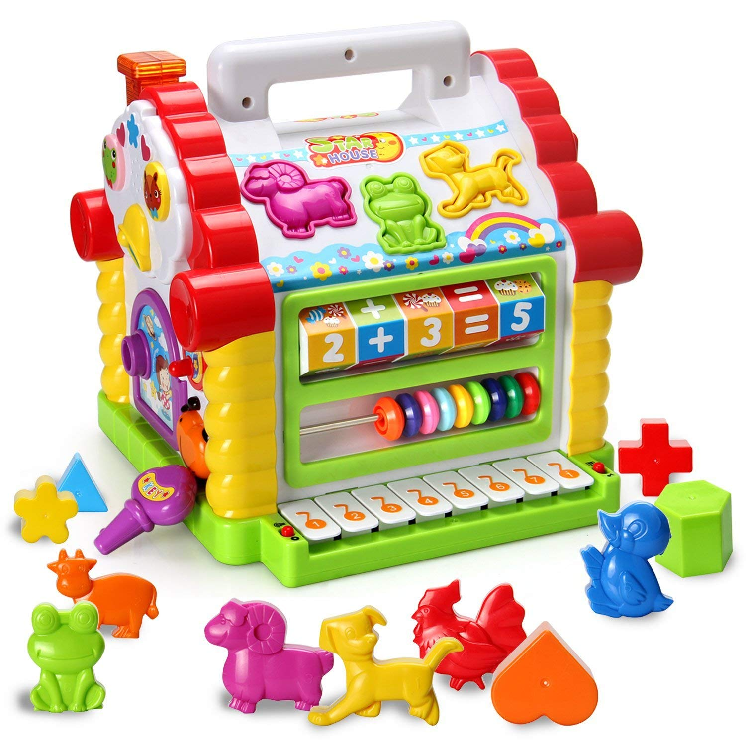 HOMOFY Baby Toys Colorful Musical Baby Little Fun House Lights & Music,Multi Games, Animal Geometric Blocks Learning Educational Toys Girls,Boys,Toddlers Babies