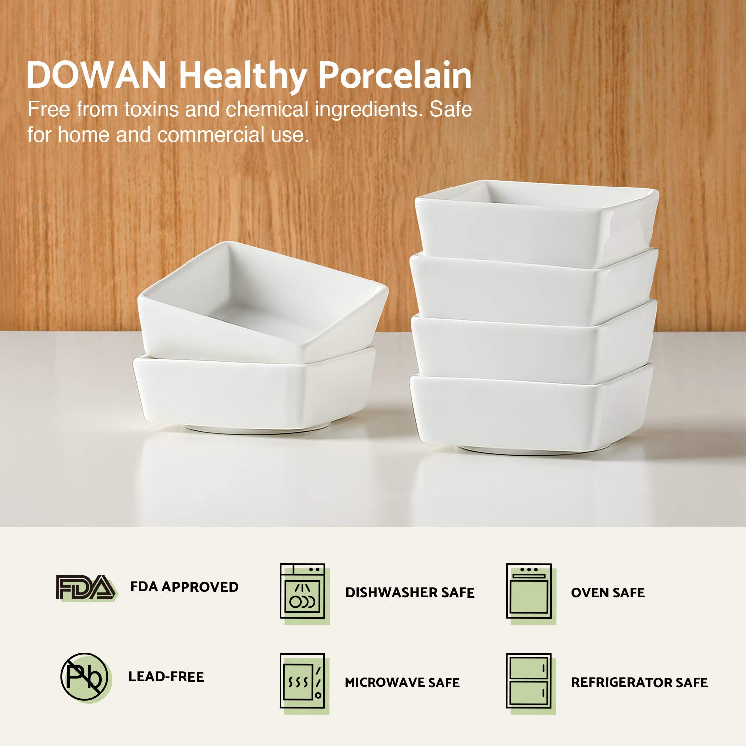 DOWAN 6oz Porcelain Ramekins - 6 Packs, White by DOWAN (Image #6)