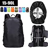 ZM-SPORTS 15-90L Upgraded Waterproof Backpack Rain Cover,with Vertical Adjustable Fixed Strap Avoid to Falling,Gift with…