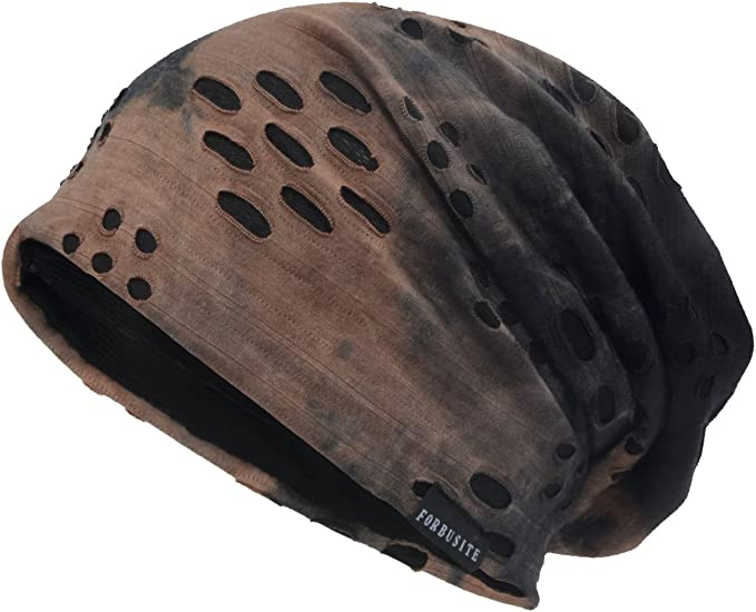 Men's chic thin baggy summer beanie in brown-black with ripped stripes