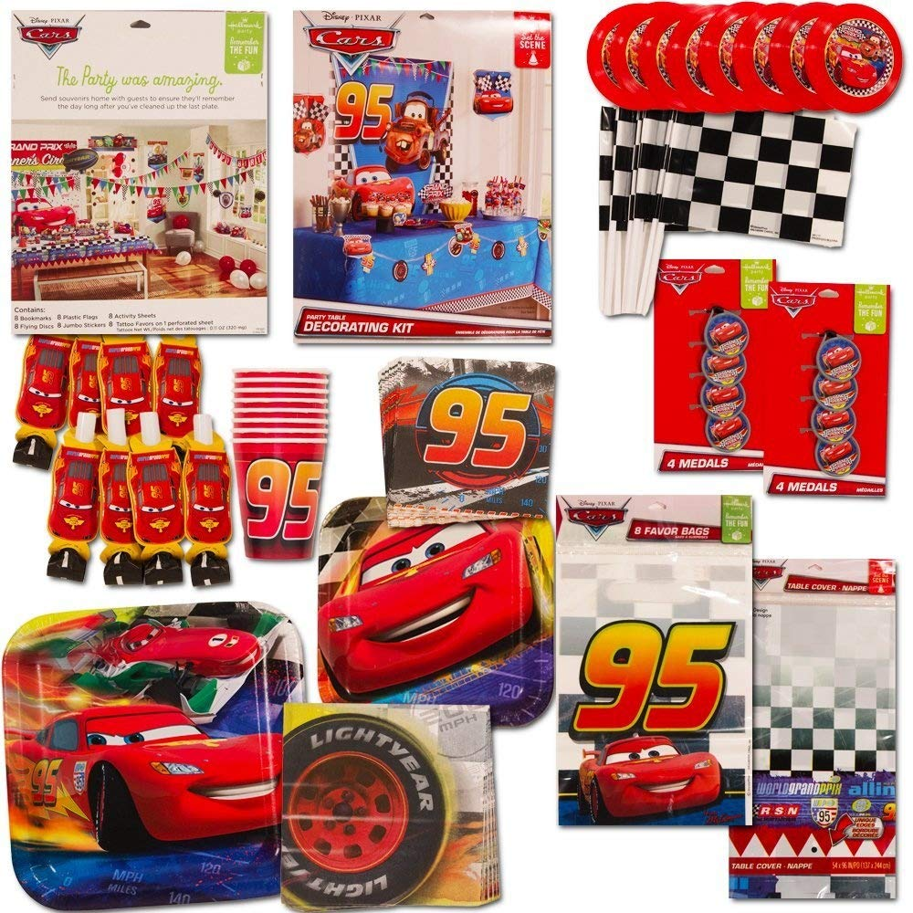 Disney Cars Party Supplies Ultimate Set (134 Pcs) -- Birthday Party Decorations, Party Favors, Plates, Cups, Napkins, Table Cover and More!
