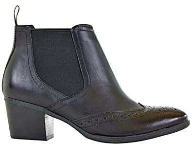 Women's Victoria Round Toe Brogue Detailing Heeled Leather Chelsea Ankle Booties
