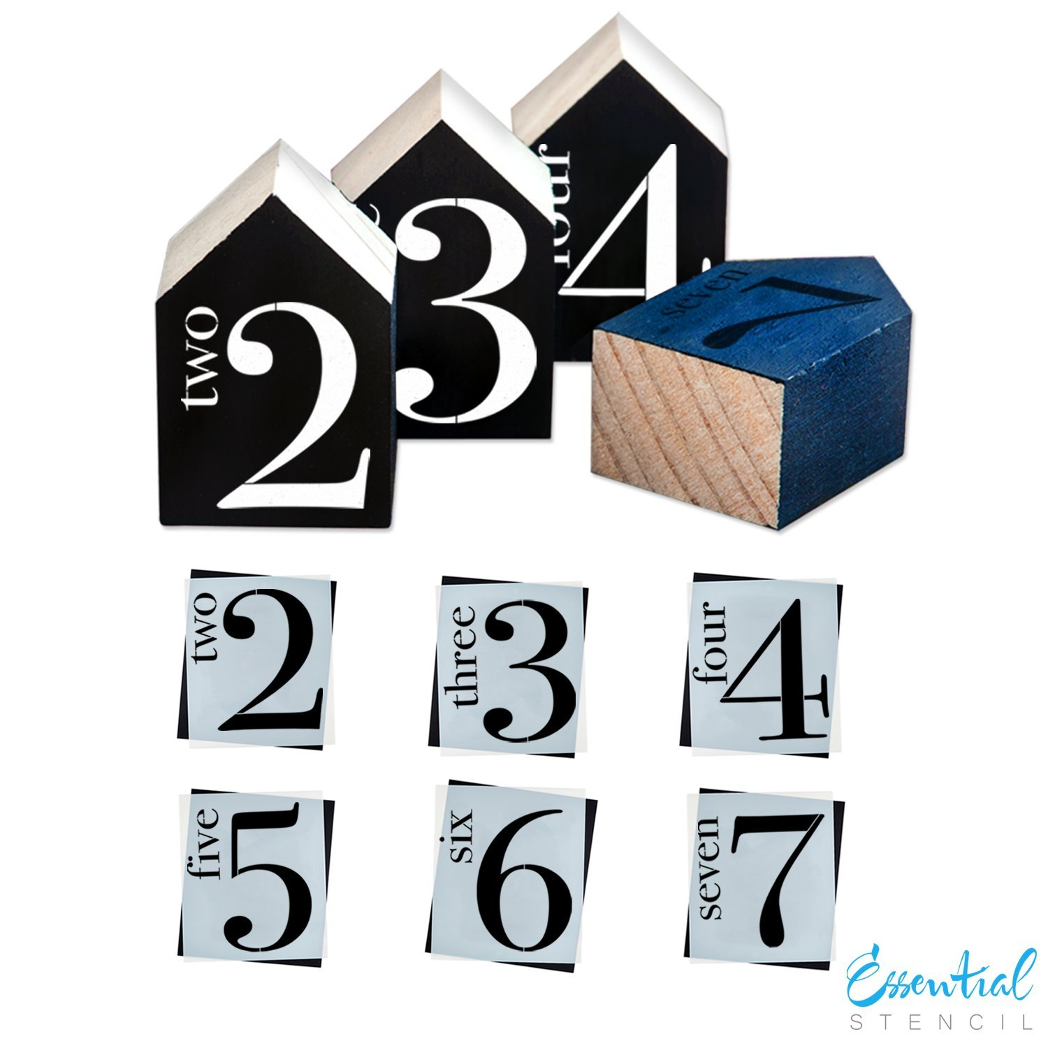 Family Numbers (6 Pack) Mini Signs Stencil Set | Perfect for Painting On Wood, DIY French Country Home Decor Calligraphy Signs, Rustic Decor for Farmhouse, Fixer Upper, Joanna Gaines, Magnolia Style Essential Stencil 4336893764