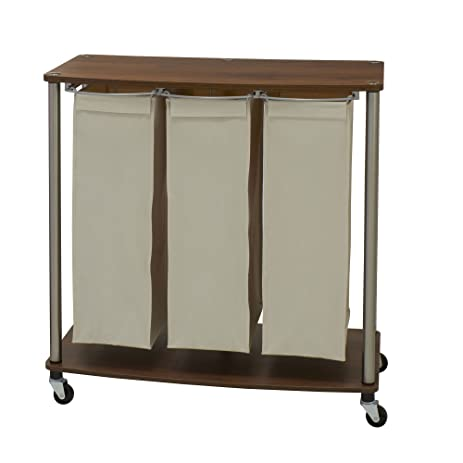 Household Essentials 7060 1 Walnut Triple Laundry Sorter With Folding Table