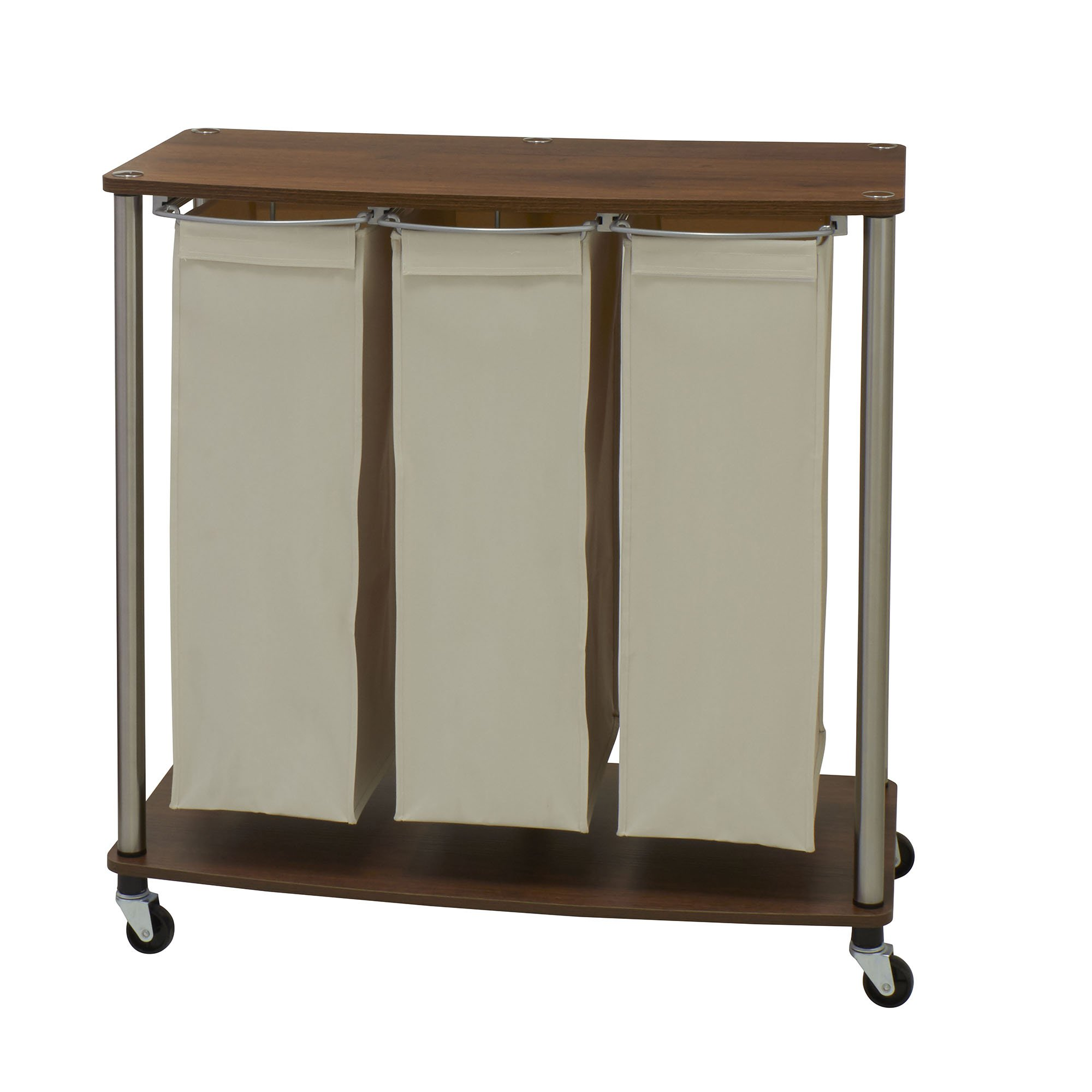 Household Essentials 7060-1 Walnut Triple Laundry Sorter with Folding Table