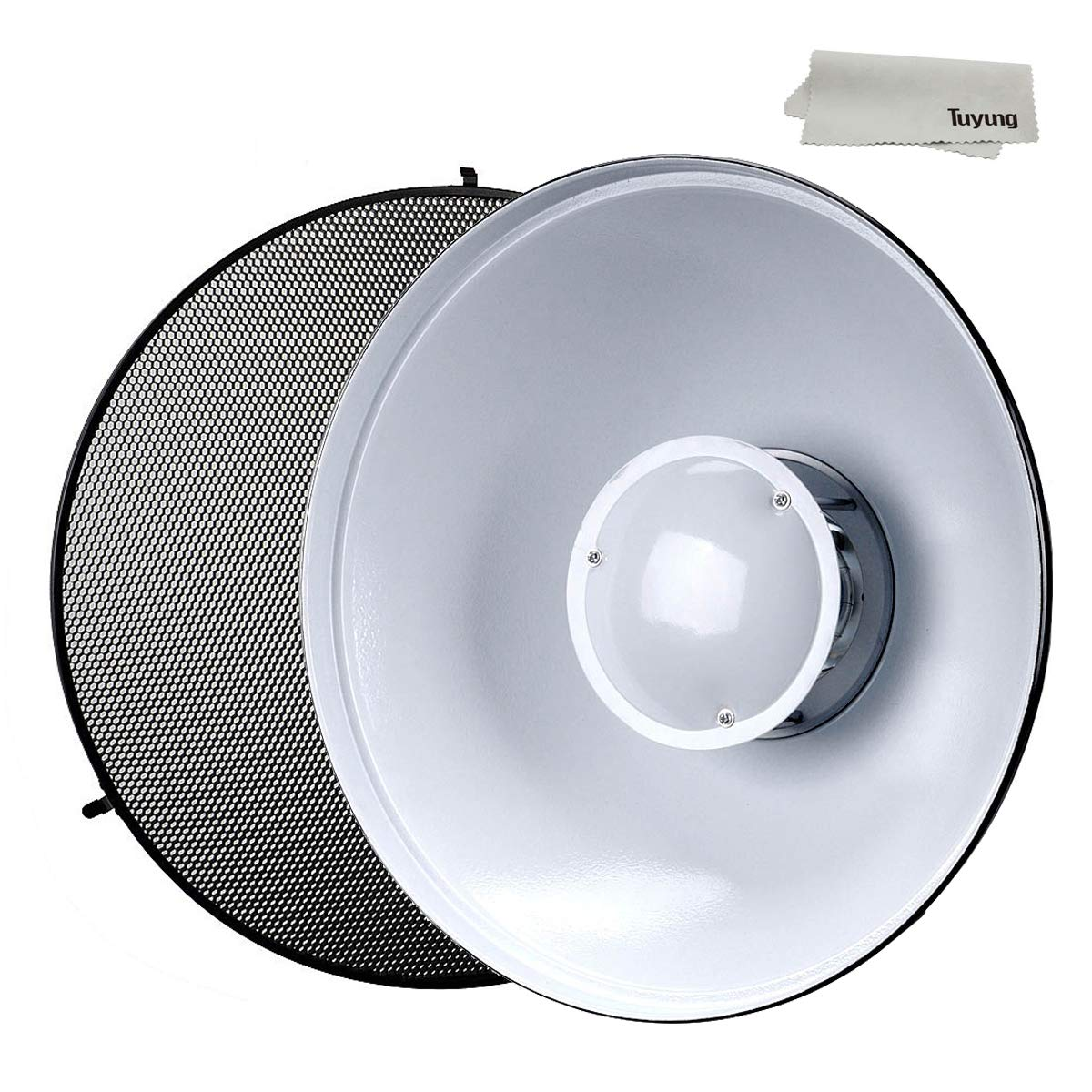 Godox 21'' 55cm Beauty Dish Reflector with Honeycomb Grid for Bowens Mount Studio Flash Strobe Monolight Such as Witstro AD400PRO AD600PRO AD600B AD600BM (Interior: White Bounce) by Godox (Image #1)
