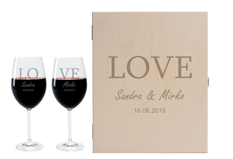 2 Leonardo Weingläser mit Geschenkbox und Gravur Ringe zur Hochzeit Geschenkidee Wein-Gläser graviert B01E73Q9HI Rotweinglser
