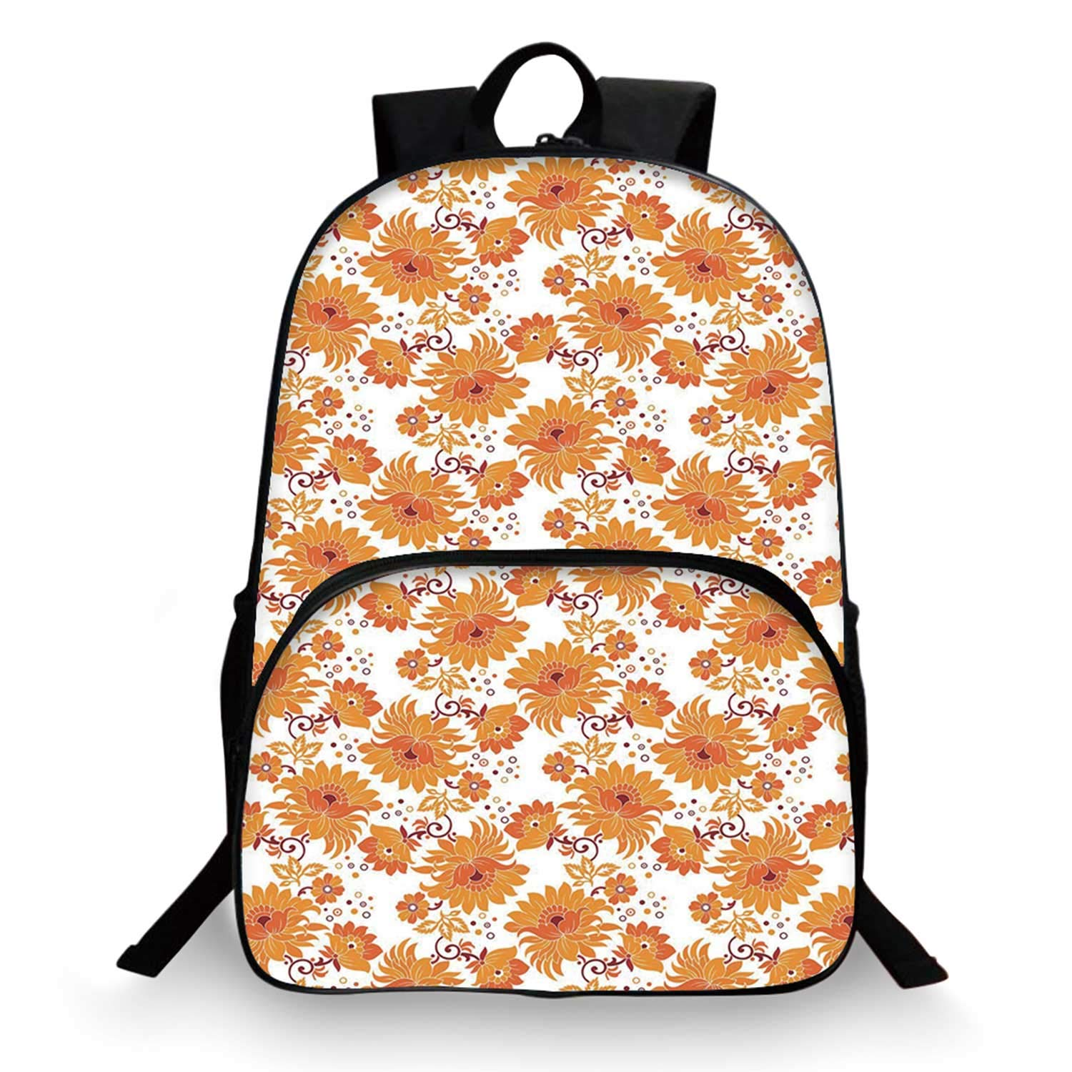 Orange Various Schoolbag,Old Fashion Flowers in Full Blossom Damask Inspired Traditional Vintage for student,11''Lx6''Wx15''H by C COABALLA