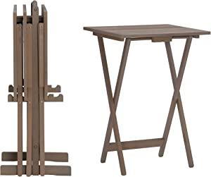 Linon Acacia Grace Tray Table Set, Driftwood