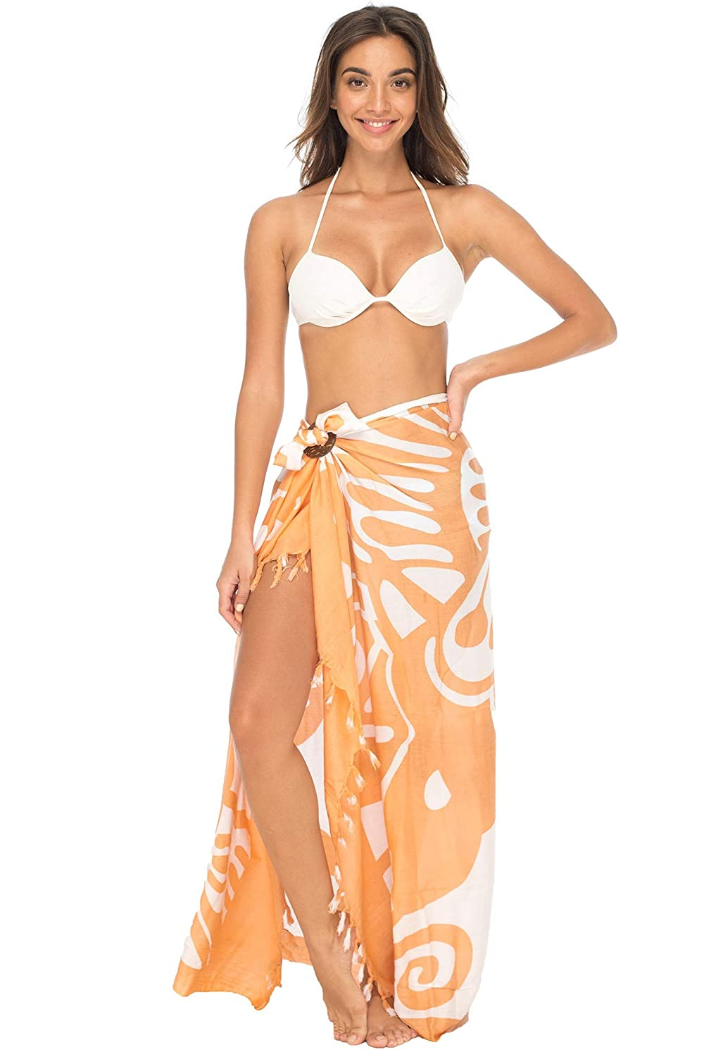 01ae773cc Amazon.com: Back From Bali Womens Beach Swimsuit Cover Up Wrap with Coconut  Clip Sarong Butterfly Coral: Clothing